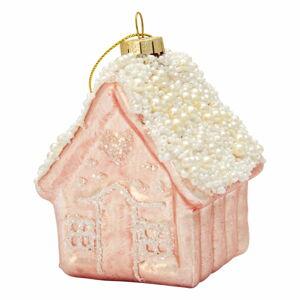 Růžová skleněná vánoční ozdoba Green Gate Ornament House
