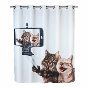 Sprchový závěs s protiplísňovou povrchovou úpravou Wenko Selfie Cat, 180x200cm