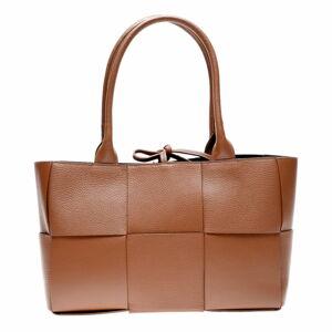 Hnědá kožená kabelka Anna Luchini, 24 x 45 cm