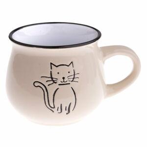 Béžový keramický hrneček s obrázkem kočky Dakls, objem 0,2 l