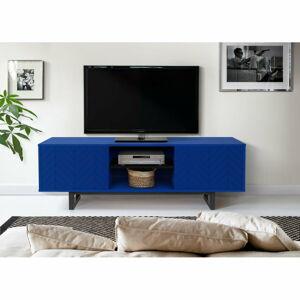 Modrý TV stolek Woodman Camden Herringbone