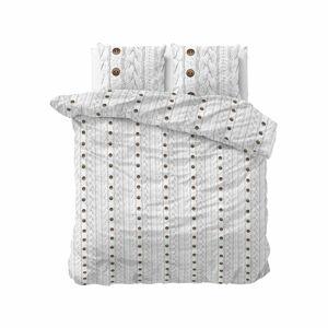 Bílé flanelové povlečení na dvoulůžko Sleeptime Knit Buttons,200x220cm