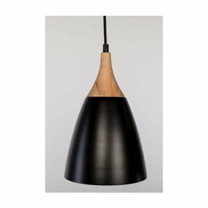 Černé závěsné svítidlo z dubového dřeva a oceli Nørdifra Beta, ⌀19cm