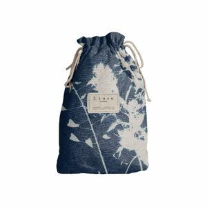 Cestovní vak s příměsí lnu Linen Couture Blue Flowers, délka 44 cm