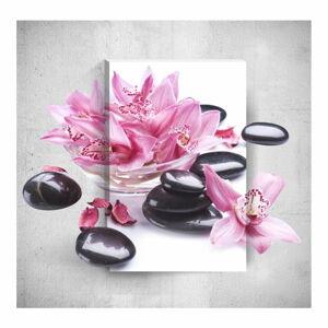 Nástěnný 3D obraz Mosticx Pink Flowers With Pebbles, 40 x 60 cm