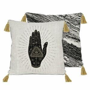 Černo-béžový polštář Madre Selva Hand,45x45cm