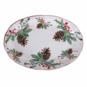 Keramický vánoční servírovací talíř Villa d'Este Ortisei,27,5 x 45cm