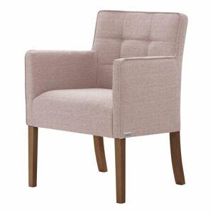 Světle růžová židle s tmavě hnědými nohami z bukového dřeva Ted Lapidus Maison Freesia