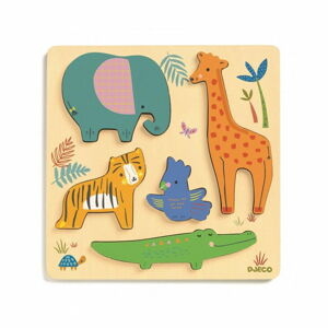 Dřevěné puzzle pro nejmenší Djeco Zvířátka v džungli