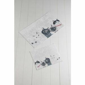 Sada 2 bílo-šedých koupelnových předložek Lismo Cats