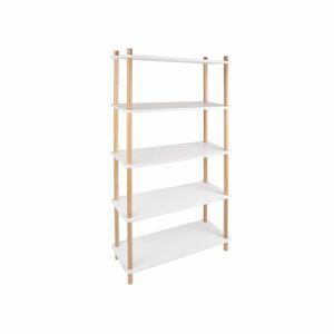 Bílý regál s bambusovými nohami Leitmotiv Cabinet Simplicity