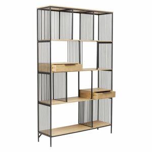 Kovová knihovna spolicemi zmangového dřeva Kare Design Modena, výška 200cm