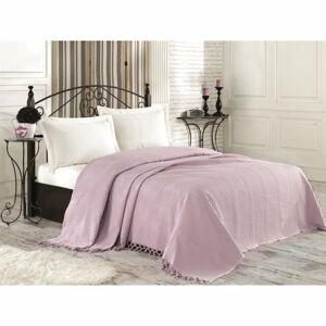 Světle fialový bavlněný přehoz přes postel na dvoulůžko Tarry, 220 x 240 cm
