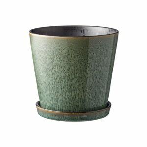 Zelený kameninový květináč s podtáckem Bitz Jungle,ø14cm