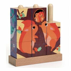 Dřevěné pop-up kostky Djeco Les
